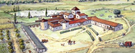 """Reconstrucción del aspecto exterior de la villa romana de """"La Calzadilla"""" Dibujo de J.R. Almeida"""